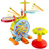 Wol Vol Kids Fun Electronic Drum Set With Adjustable Sing Along Microphone And Sitting Stool Tons Of Different...