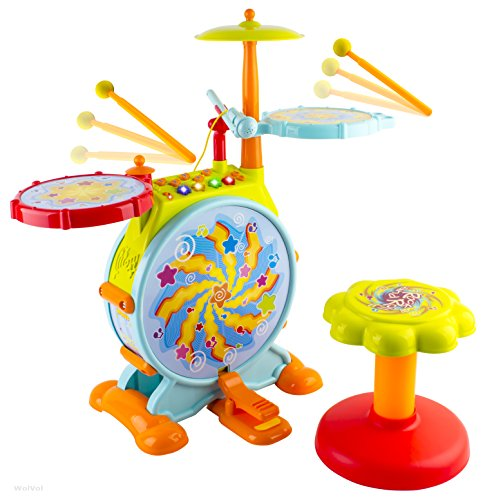 WolVol-Electric-Big-Toy-Drum-Set-for-Kids-with-Movable-Microphone-to-Sing-and-a-Chair-Tons-of-Various-Functions-and-Activity-Bass-Drum-and-Pedal-Adjustable-Volume