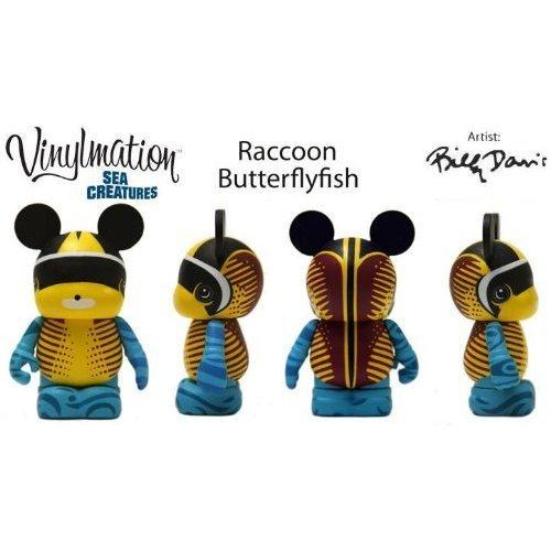 "Disney Vinylmation Sea Creatures 3"" Raccoon Butterfly Fish"