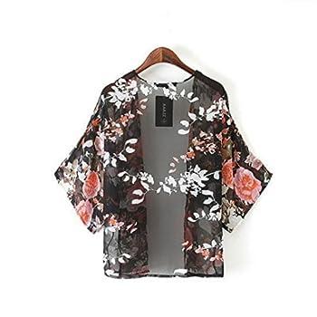 Orangesky Vintage Floral Kimono Boho Chiffon Cardigan