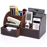 KINGFOM? 5-Slot Wood Leather Multi-Function Desk Stationery Organizer Dark Brown