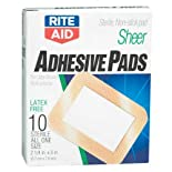 Rite Aid Adhesive Pads, Sheer, All One Size, Sm 2x3, 10 ct