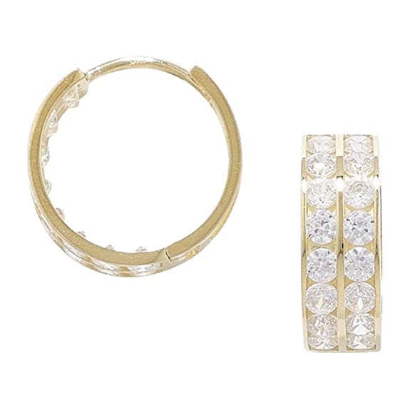9ct Gold Cubic Zirconia Huggie Earring