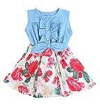 niceEshop(TM) Baby Girl Princess Sleeveless Denim Splice Sun Party Dresses