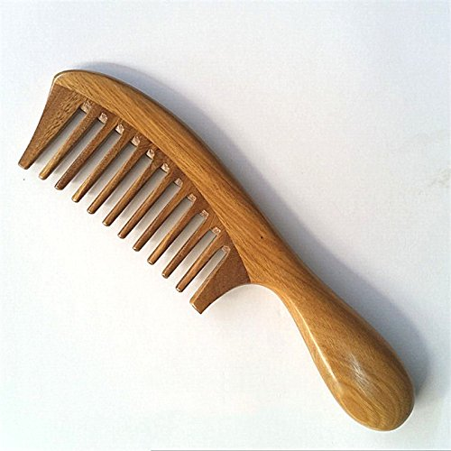 Natural Green Sandalwood Handmade Wide-tooth 4.0 mm pitchTooth Wood Combs no static, Beard Toothed Lice Comb Hair Care