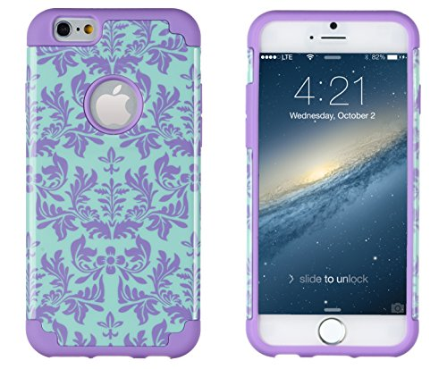 "iPhone 6, DandyCase 2in1 Hybrid High Impact Hard Sea Green Flower Pattern + Purple Silicone Case Cover for Apple iPhone 6 (4.7"" screen) + DandyCase Screen Cleaner"