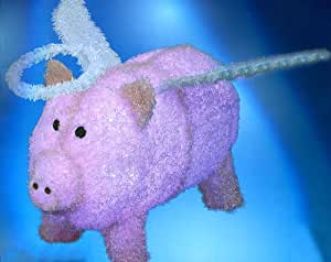 """28"""" Pre-Lit LED Outdoor Pink Chenille Angel Pig Christmas Yard Art Decoration"""