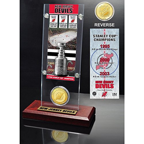 New Jersey Devils 3x Stanley Cup Champions Ticket and Bronze Coin Acrylic Display-By BlueTECH