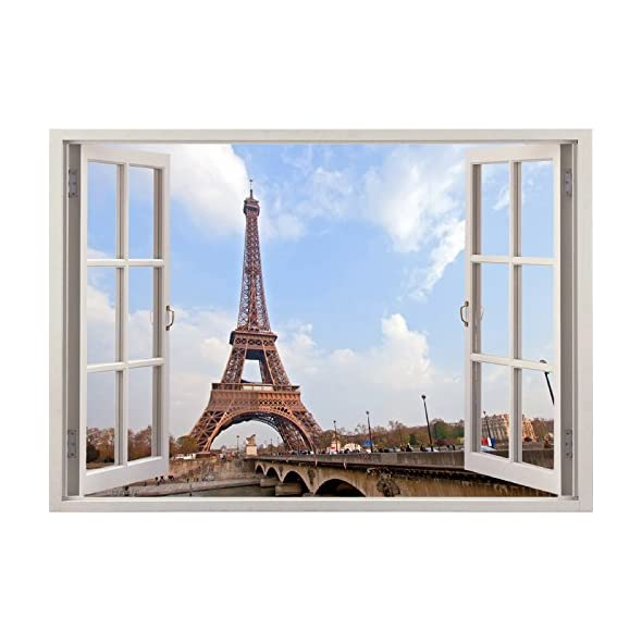 Urban City Scape 3D View Eiffel Tower Paris France Vinyl Print Removable Wall  Decal Sticker