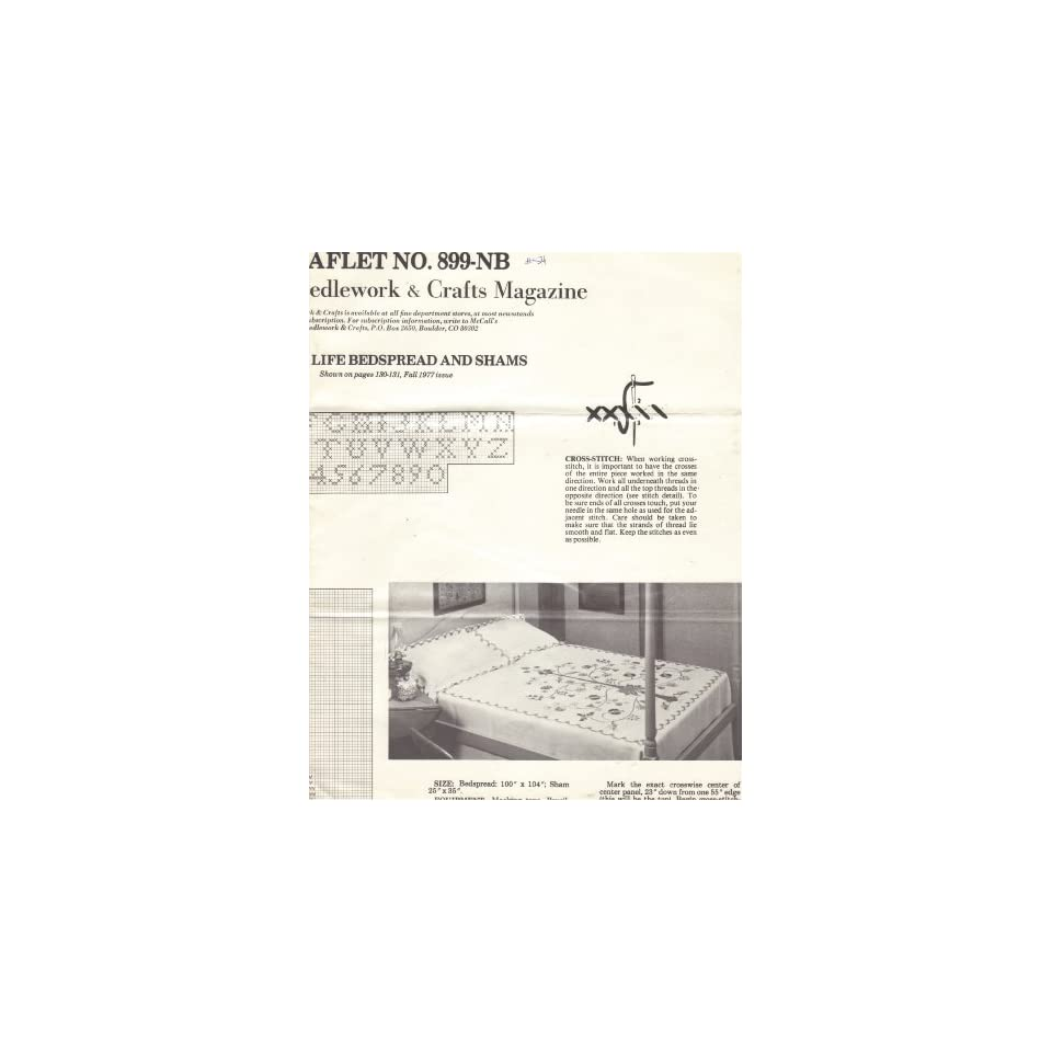 Tree of Life Bedspread and Shams   Cross Stitch Pattern (McCalls Needlework & Crafts Magazine, Fall 1977, Leaflet No. 899 NB)
