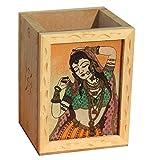 Handicraft Paradise Real Gemstone Pine Wood Relaxing Pose Design Pen Holder