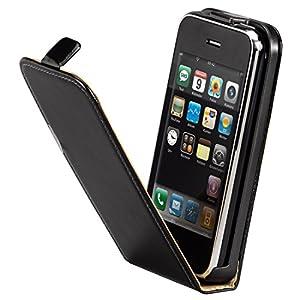 Hama Echtleder Flap-Tasche für Apple iPhone 3G/3G S schwarz