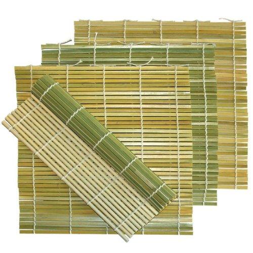 """(5 Pack) 9½"""" X 9½"""" Flat Sushi Bamboo Rolling Mat"""