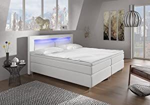 boxspringbett 180x200 wei mit led beleuchtung und. Black Bedroom Furniture Sets. Home Design Ideas