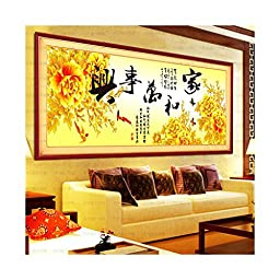 Diamond Painting Diamond Paste Cross Stitch Living Room Round Diamond Harmony Brings Wealth Peony