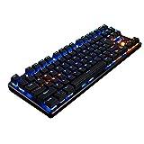 リンバオ PCのUSBゲームバックライト付きメカニカルキーボード (87キー,青色光,ブラック,ブラック軸)
