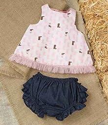 Mud Pie Baby-Girls Newborn Cowgirl Pinnafore and Bloomer Set, Multi, 9-12 Months