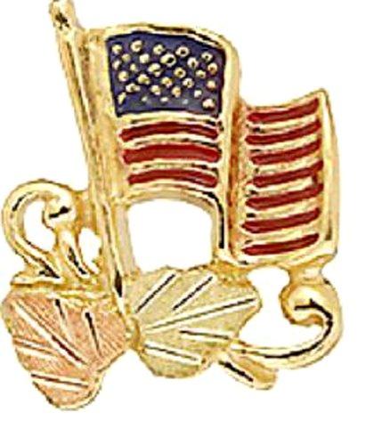 Stamper 12K Black Hills Solid Gold American Flag Tie Tac Pin. TAC1373