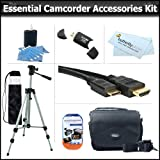 Essential Accessory Kit For Samsung SMX-F50 (SMX-F50BN/XAA) SMX-F54 SMX-F54BN/XAA HMX-H300 HMX-H300BN/XAA HMX-H304 HMX-H304BN/XAA HMX-Q10 HMX-Q10BN/XAA Camcorder Includes 50&quot; Tripod + Deluxe Case + Mini HDMI Cable + Cleaning Kit + Screen Protectors + More