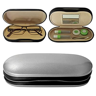 Evelots Eyewear Care Case Hard, Holds Contacts & Glasses, Assorted Colors