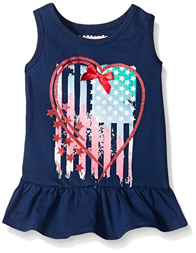 Kidtopia Big Girls Sleeveless Peplum Top with Flag In Heart, State Blue, 6