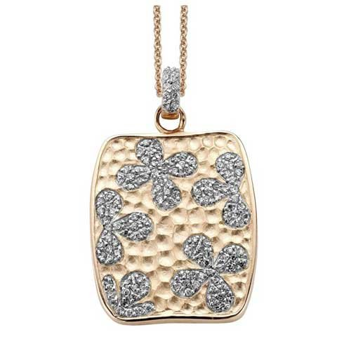 C.Z. Square Flower Fashion Rose Plated (.925) S/S Pendant (Nice Holiday Gift, Special Black Firday Sale)