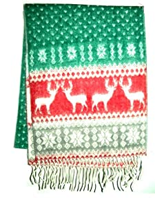 Reversible Reindeer Snowflake Christmas Scarf Ugly Sweater Party