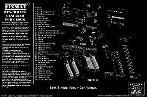Glock diagram FIXMat BenchMate 11 X 17 Handgun Cleaning Mat featuring Glock diagram, Black