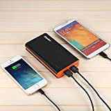 EasyAcc® 15000mAh Brilliant High Capacity Ultra Compact Dual USB (2.1A / 1.5A Output) Portable Power Bank External Battery Charger for iPhone iPad Samsung Smartphone Tablet Bluetooth Speaker - Black and Orange