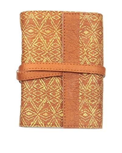 Marina Vaptzarov Small Printed Vegetal Leather Cover Travel Diary, Orange/Brown