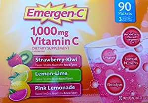 Emergen-C 1000 mg of Vitamin C, 0.32 Ounce, 90-Count, Stawberry-Kiwi, Lemon-Lime, Pink Lemonade.