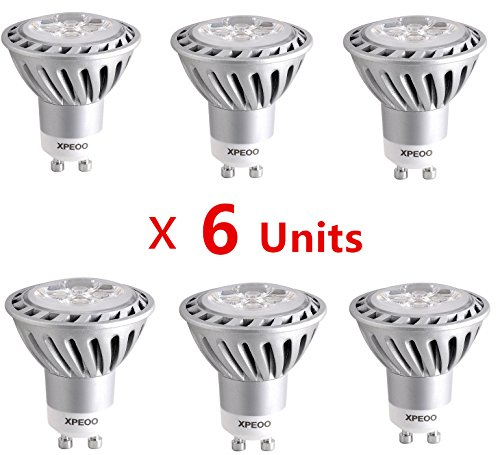 Xpeoo® 6Pcs Gu10 Base Best Dimmable Super Bright Led Light 6W Equivalent To 50W Halogen Bulb Spot Downlight Lamp Energy Saving Recessed Tracking Lamps Effect Of Philips 110V - Gu10 Dimmable Cool White