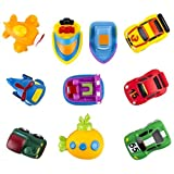 WolVol (Set Of 10) Bath Time Fun Water Squirt Toy Vehicles, Boats, Cars, Train, Aircrafts
