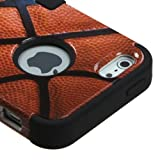 myLife Black - Basketball Print Series (Neo Hypergrip Flex Gel) 3 Piece Case for iPhone 5/5S (5G) 5th Generation Smartphone by Apple (External 2 Piece Fitted On Hard Rubberized Plates + Internal Soft Silicone Easy Grip Bumper Gel)