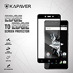 for OnePlus X Full Cover Edge to Edge KAPAVER® 2.5D Arc Edge 9H Hardness Premium Tempered Glass Screen Guard Protector (Comes with Precise Camera, Proximity Sensor, LED and Ear Piece hole) [One Plus X Black ]