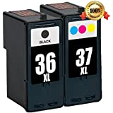 E-MALL® Remanufactured Ink Cartridge Replacements for Lexmark 36XL Black 18C2170 and Lexmark 37XL Color 18C2180 Ink Cartridge for Lexmark X3650 X4650 X5650 X5650es X6650 X6675 Z2420 Printers (1 Black, 1 Color)