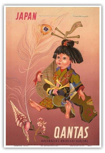 japan-qantas-empire-airways-ltd-japanese-child-holding-a-japanese-biwa-lute-with-lockheed-constellat