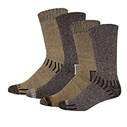 Dickies Men\'s 4 Pack All Season Marled Moisture Control Crew Socks, Brown Assortedment, 10-13 Sock/6-12 Shoe