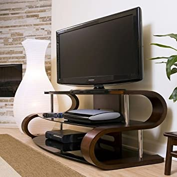 "60"" Modern Curvy Tv Stand, This S Shaped Tv Stand Features a Modern Twist! Add This Modern Contemporary Television Stand to Any Living Room Space! Curved Wood Tv Stand with Tempered Glass"