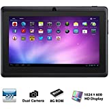 Alldaymall A88X 7'' Quad Core Google Android 4.4 KitKat Tablet PC MID, Dual Camera, HD 1024x600 Capacitive Multi-touch Screen, 8GB Nand Flash, Google Play Pre-load, 3D Game Supported Black