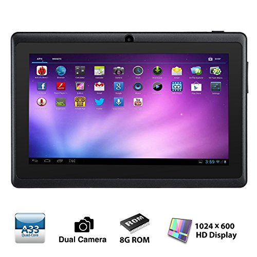 Alldaymall® A88X 7' Quad Core Google Android 4.4 KitKat Tablet PC MID, Dual Camera, HD 1024x600 Capacitive Multi-touch Screen, 8GB Nand Flash, Google Play Pre-load, 3D Game Supported (Advanced version of A88) Black