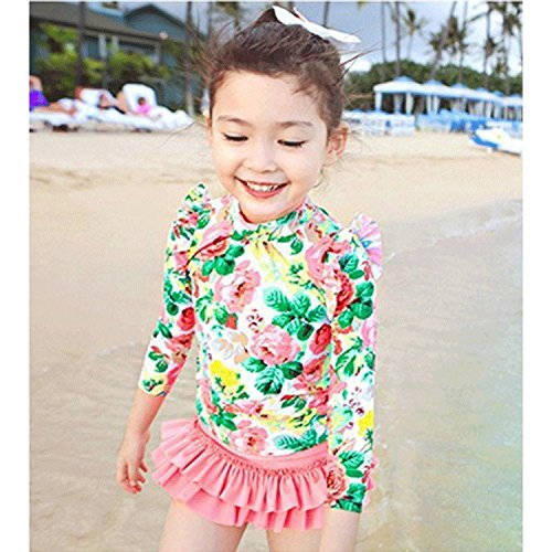 [Unbranded products: 0002 cute kids girls girls swimsuit RashGuard separate kids ' swimsuit girl bikini long sleeve Tutu skirt swimwear begin Springs UV protection index UPF50 large big floral print 3-piece set Sunny Corner (XL, pink)