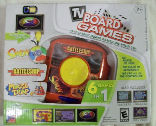 TV Board Games - Play Classic Board Games on your TV - 6 Games in One Controller - Simon, Battleship, Mouse Trap, Checkders, Link-a-Like, Roll Over