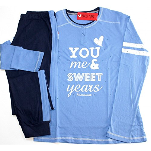 Pigiama Tuta Donna Sweet Years Tg 4/L/46 cotone Jersey ML-PL colore Oceano SW45203