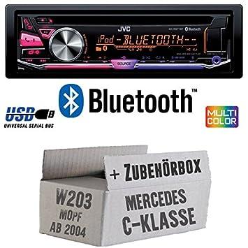 Mercedes C-Klasse W203 MoPf - JVC KD-R971BT - Bluetooth CD/MP3/USB MultiColor Autoradio - Einbauset