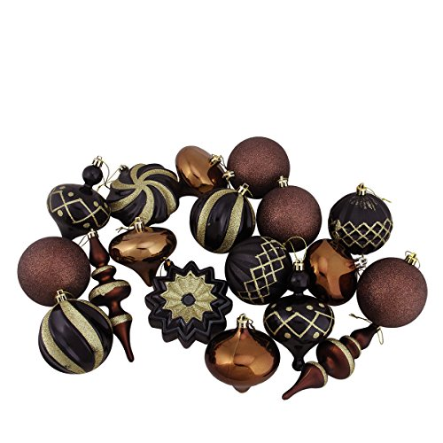Set of 18 Black, Brown and Gold Ball, Finial and Onion Shatterproof Christmas Ornaments 3