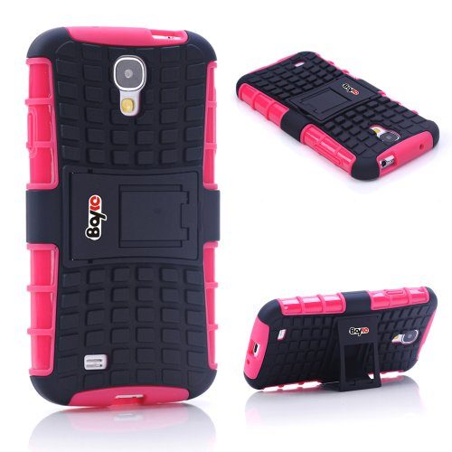 Bayke Brand / Samsung Galaxy S4 2-Piec Dual Layer Tire Tread Combo Heavy Duty Rugged Matte Skidproof Hard Protective Case Cover With Kickstand (Hot Pink Tpu Inner)