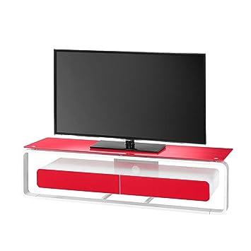 Glas TV Tisch in Weiß Rot Beleuchtung Ohne Beleuchtung Pharao24
