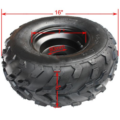 Promax 16x8-7 Right Front Rear Wheel Rim Tire Assembly for 110 cc 125cc ATV Go Kart 80mm Quad 4 Wheeler Dune Buggy Sandrail Roketa Taotao SunL Coolster
