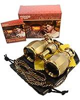 HQRP 4x30 Jumelles de theatre opera dorées style antique avec collier doré